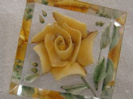 Yellow Floral Rose Pin -- Reverse Carved Lucite Brooch from the 1940s - 1950s (SOLD)